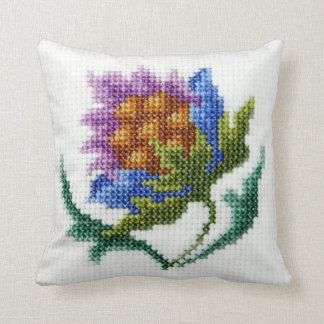 Hand embroidered bright flower pillow