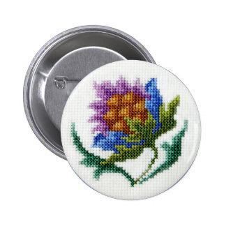 Hand embroidered bright flower pinback button