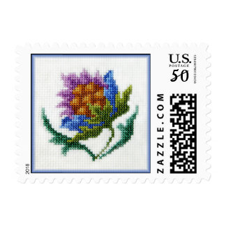 Hand embroidered bright flower postage