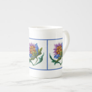 Hand embroidered bright flower tea cup