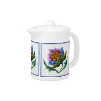 Hand embroidered bright flower teapot