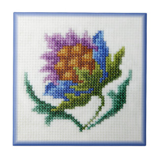 Hand embroidered bright flower tile