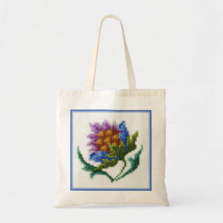Hand embroidered bright flower tote bag