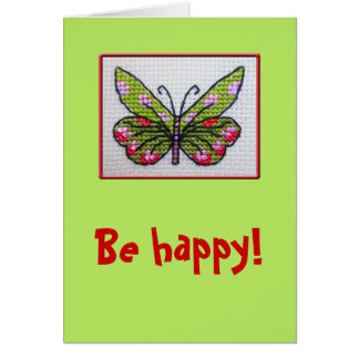 Hand embroidered happy butterfly card
