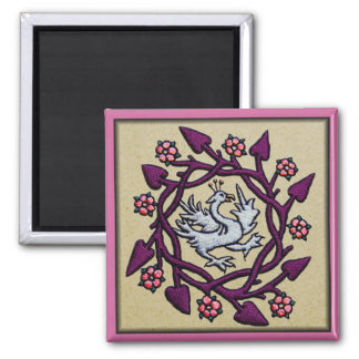 Hand embroidered medieval ornament Bird 2 Inch Square Magnet