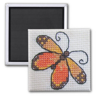 Hand embroidered orange butterfly 2 inch square magnet