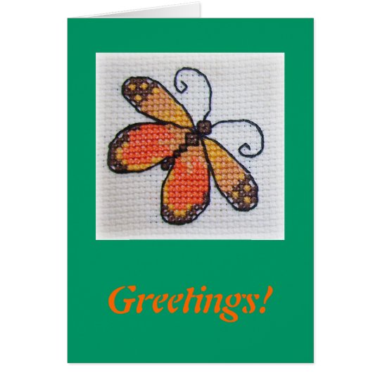 Hand embroidered orange butterfly card