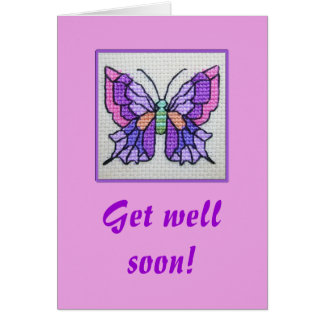 Hand embroidered purple butterfly card