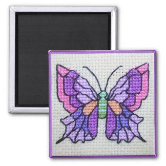 Hand embroidered purple butterfly 2 inch square magnet