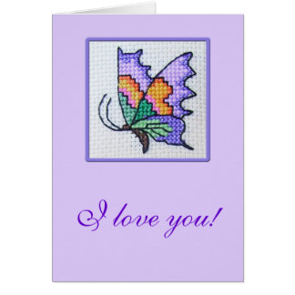 Hand embroidered romantic butterfly card