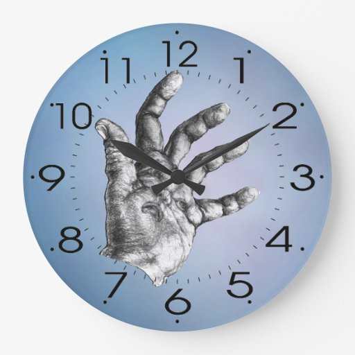 hand face blue large clock