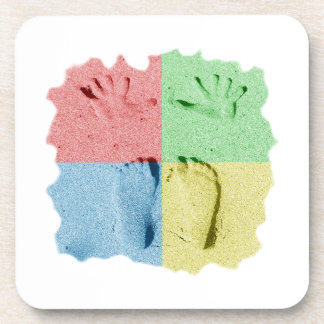 Hand Feet Prints in sand four color Drink Coaster