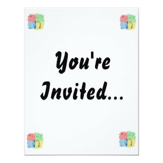 Hand Feet Prints in sand four color 4.25x5.5 Paper Invitation Card