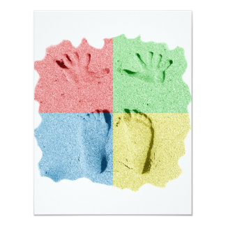 Hand Feet Prints in sand four color Custom Announcements