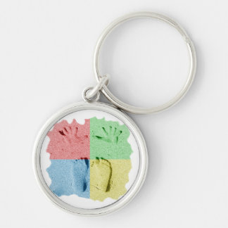 Hand Feet Prints in sand four color Keychain