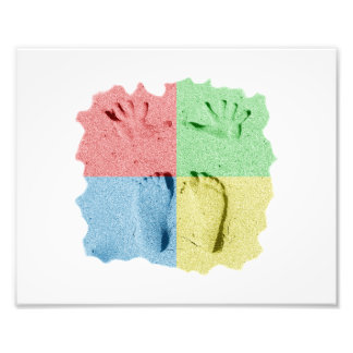 Hand Feet Prints in sand four color Photo Print