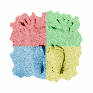 Hand Feet Prints in sand four color Cut Outs