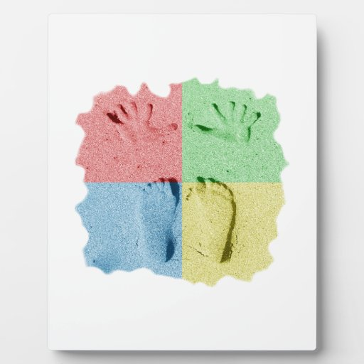 Hand Feet Prints in sand four color Plaque