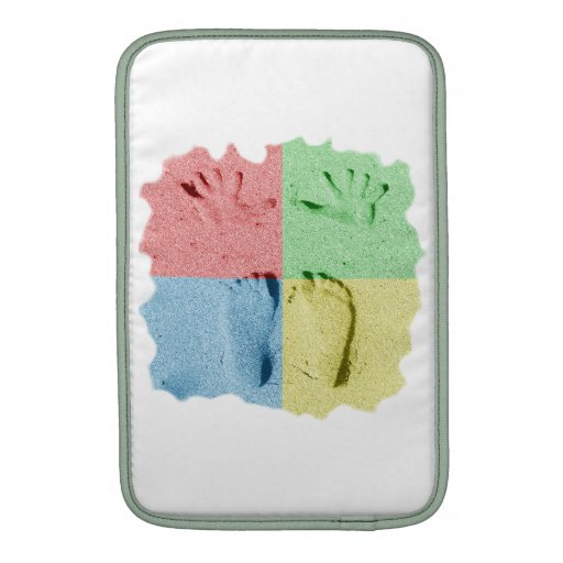 Hand Feet Prints in sand four color.png MacBook Sleeves