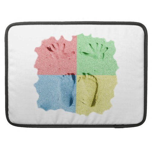 Hand Feet Prints in sand four color.png Sleeves For MacBook Pro