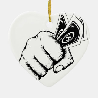 Hand Fist With Cash Illustration Ceramic Ornament