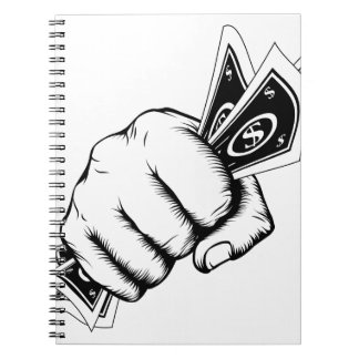 Hand Fist With Cash Illustration Spiral Notebook