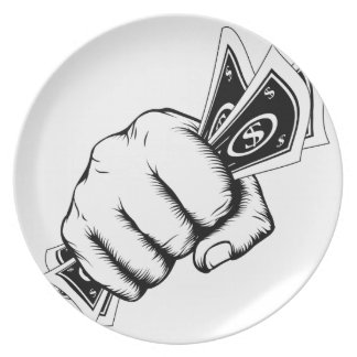 Hand Fist With Cash Illustration Plate