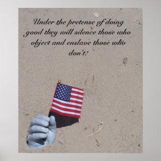 hand flag in sand ts, Under the pretense of doi... Poster
