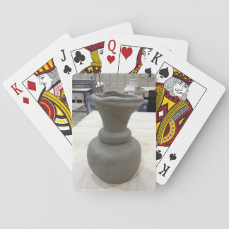 Hand-Formed Clay Coil Pot/Vase in Ceramics Studio Playing Cards