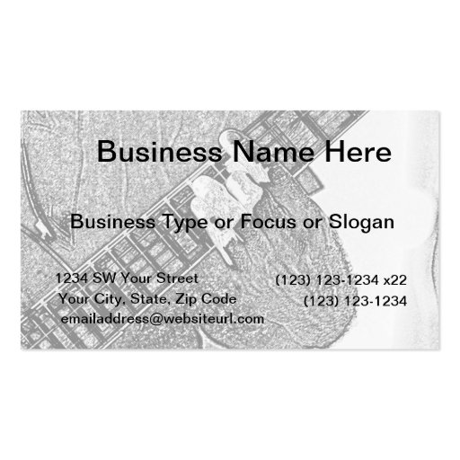 Hand fretting guitar bw sketch business card