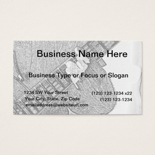 Hand fretting guitar bw sketch business card