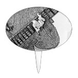 Hand fretting guitar bw sketch cake toppers