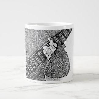 Hand fretting guitar bw sketch giant coffee mug