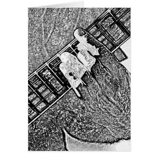 Hand fretting guitar bw sketch greeting cards