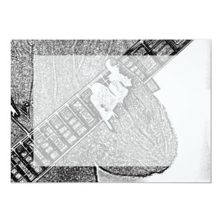 Hand fretting guitar bw sketch 5x7 paper invitation card