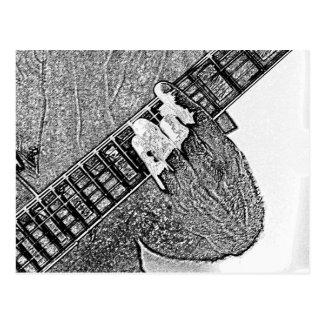 Hand fretting guitar bw sketch postcard