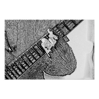 Hand fretting guitar bw sketch poster