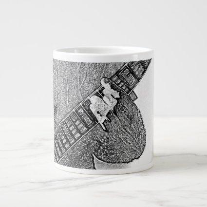 Hand fretting guitar bw sketch 20 oz large ceramic coffee mug