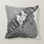 Hand fretting guitar bw sketch throw pillows
