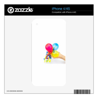 Hand giving colorful balloons with ribbons decals for the iPhone 4S