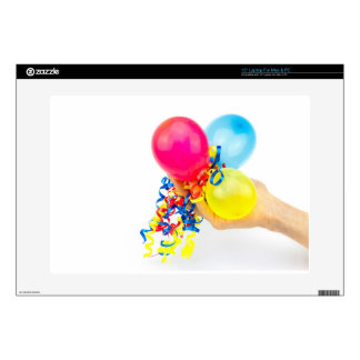"""Hand giving colorful balloons with ribbons skins for 15"""" laptops"""