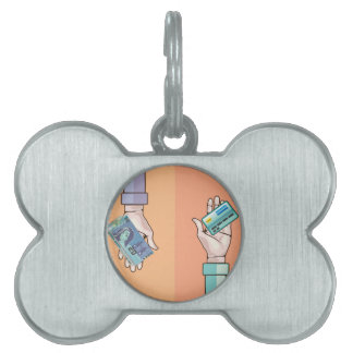 Hand giving money and credit card vector pet ID tag