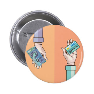 Hand giving money and credit card vector pinback button