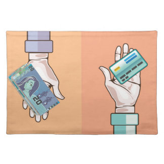 Hand giving money and credit card vector placemat