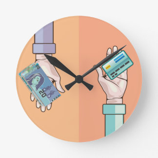Hand giving money and credit card vector round clock