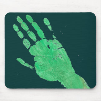 Hand - Green Mouse Pad