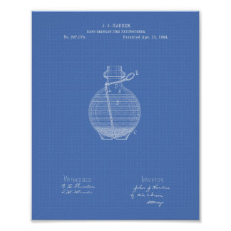 Hand Grenade 1884 Patent Art Blueprint Poster