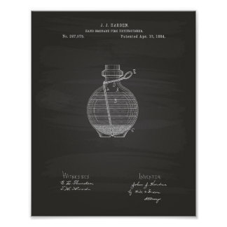 Hand Grenade 1884 Patent Art Chalkboard Poster