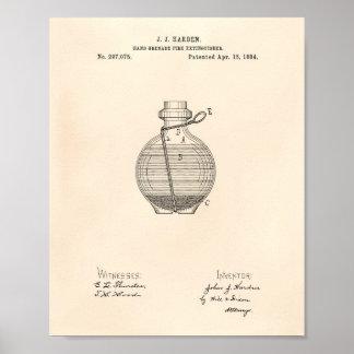 Hand Grenade 1884 Patent Art Old Peper Poster