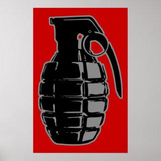 Hand Grenade - gray Poster